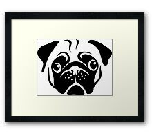 Cute Pug Face by AiReal Apparel Framed Print