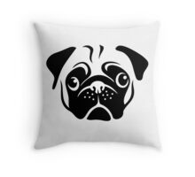 Cute Pug Face by AiReal Apparel Throw Pillow