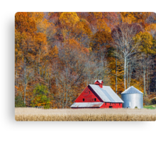 Autumn Red Barn and Hillside Canvas Print