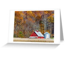 Autumn Red Barn and Hillside Greeting Card