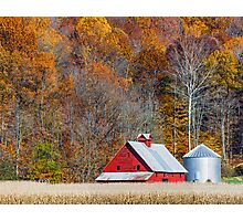 Autumn Red Barn and Hillside Photographic Print