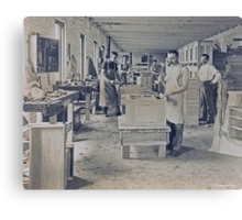 Cabinet Card: c1890 Woodworkers in a Furniture Shop Canvas Print