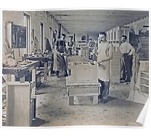 Cabinet Card: c1890 Woodworkers in a Furniture Shop Poster
