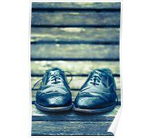 Men's Dress Shoes on park bench Poster