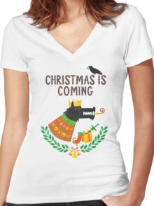 Christmas is coming Women's Fitted V-Neck T-Shirt