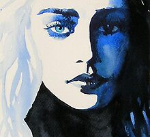 Daenerys Targaryen Game of Thrones Original Watercolour Painting Blue by KimberlyGodfrey