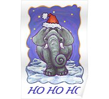 Elephant Christmas Card Poster