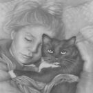 Sleeping Girl With Cat by Pam Humbargar