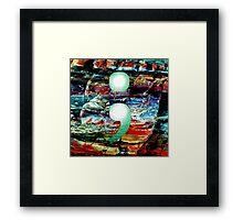 Semicolon on a rock background Framed Print