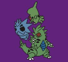 Larvitar, Pupitar and Tyranitar by Funkymunkey