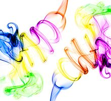 Symmetrical colorful smoke on white background by Daniele Zighetti
