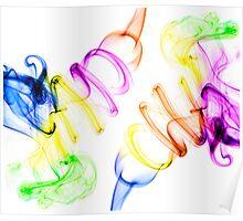 Symmetrical colorful smoke on white background Poster