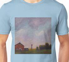 Windmill farm under a stormy sky. Unisex T-Shirt