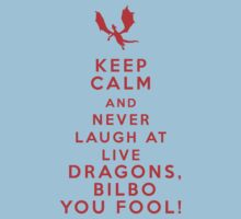 Keep calm and never laugh at live dragons Kids Clothes