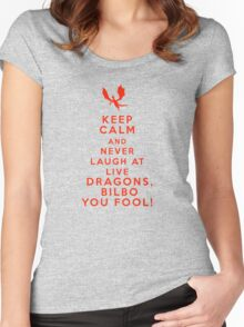 Keep calm and never laugh at live dragons Women's Fitted Scoop T-Shirt