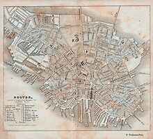 Maps: Antique 1837 Street Map of Boston by toolemera