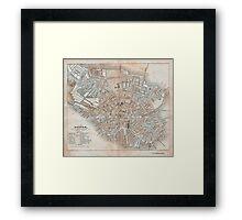 Maps: Antique 1837 Street Map of Boston Framed Print