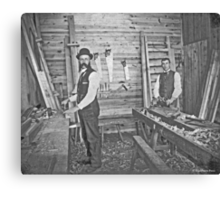 Cabinet Cards: 2 Finish Carpenters On Site c1880 Canvas Print