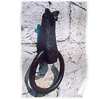 Rein ring for horse on wall of Consul's Palace Gubbio Italy 19840412 0018  Poster