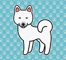 White Akita Dog Cartoon by destei
