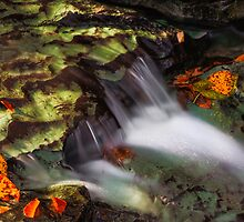 Cascading Autumn Brook by Kenneth Keifer