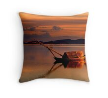 Lonely gaita at the lagoon of Messolonghi Throw Pillow