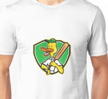 Duck Cricket Player Batsman Cartoon Unisex T-Shirt