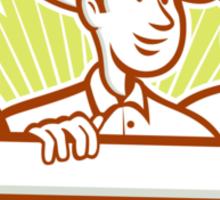 Farmer With Chicken Goose Cartoon Sticker