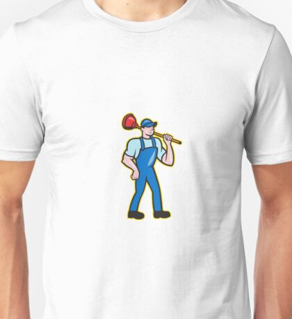 Plumber Holding Plunger Standing Cartoon Unisex T-Shirt
