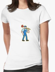 Plumber Holding Plunger Standing Cartoon Womens Fitted T-Shirt
