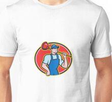 Plumber Holding Plunger Cartoon Unisex T-Shirt