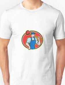 Plumber Holding Plunger Cartoon T-Shirt
