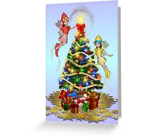 Fairies decorating the tree Greeting Card