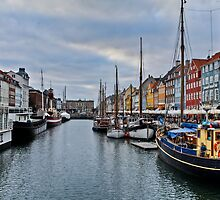 Copenhagen Nyhavn, Dusk over the Harbour by pixog