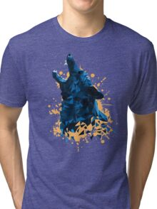 Blue Geometric Barking Shepherd Tri-blend T-Shirt