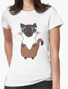 Brown And White Cute Kitten Design With Bright Blue Eyes Womens Fitted T-Shirt