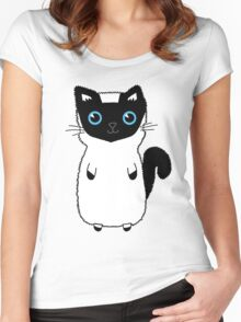 White And Black Cute Kitten Design With Bright Blue Eyes Women's Fitted Scoop T-Shirt