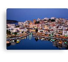 Blue hour in Agios Nikolaos Canvas Print