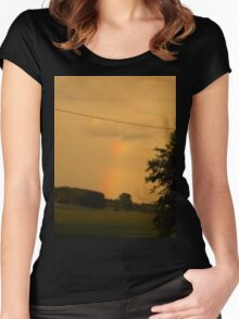 Rainbow Over The Field                      Pentax X-5 Series 16 MP Women's Fitted Scoop T-Shirt