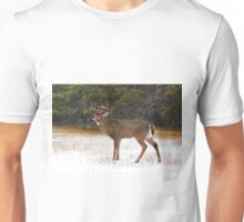Buck in Snow - White-tailed Deer Unisex T-Shirt