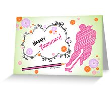 Hockey Birthday Card Scribble - Female Greeting Card