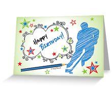 Hockey Birthday Card Scribble Greeting Card