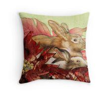 Christmas Bunnies Throw Pillow