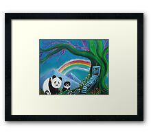The Panda The Cat and The Rainbow Framed Print