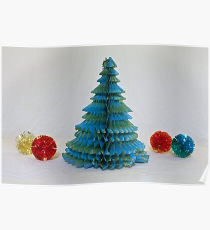 Vintage Paper Christmas Tree Poster