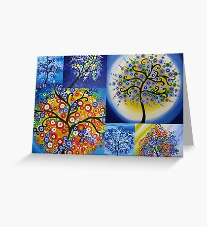 bright happy hippy trees Greeting Card