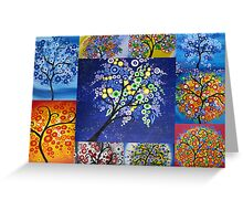 bright tree collage by Australian Artist Catherine Jacobs Greeting Card