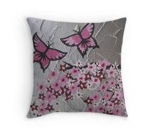pink butterflies and sakura Throw Pillow