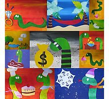 Snake collage from recycled math books Photographic Print