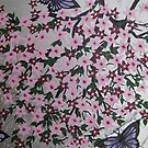 purple butterflies with sakura by cathyjacobs